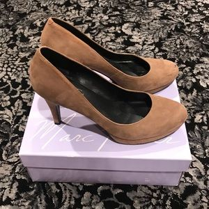 Marc Fisher taupe suede pumps